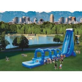42ft Dual Lane Blue Crush Slip N Dip Water Slide